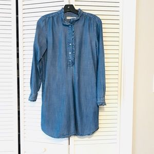 Loft Chambray Button-Down Long-Sleeve Dress, XSP